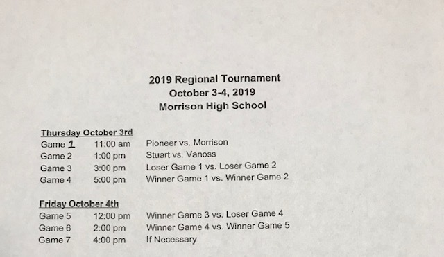 REGIONAL TOURNAMENT SCHEDULE