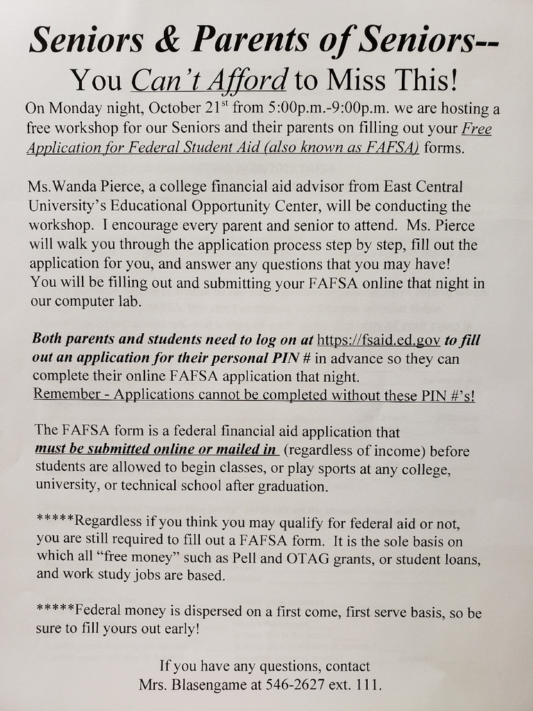 Senior Financial Aid FAFSA Night